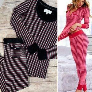 Victoria's Secret Striped Thermal Velvet Pajamas